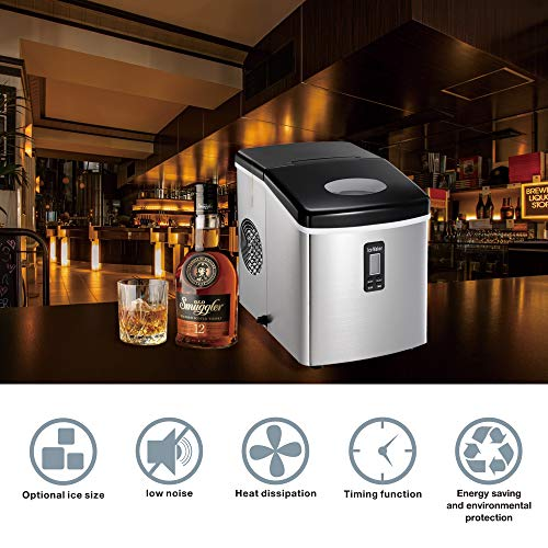 AGLUCKY Stainless Steel Cover Countertop Ice Maker Machine, Portable Automatic Ice Maker,Ice Cube Ready in 6mins,2.2Lb Ice Storage,with Ice Scoop and shovel 33lbs/24h,Control Panel,See-through Lid