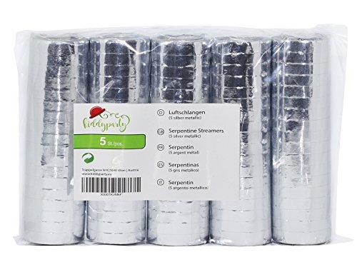 Stelle filanti KIDDYPARTY argento metallico, pacco da 5 qualità PREMIUM, 5 pezzi metallici/bianchi. Ideali come decorazione per nozze d'argento, compleanni, eventi, carnevale e capodanno