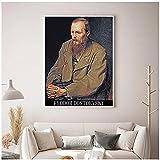 djnukd Escritor Ruso Fyodor Dostoyevski Retrato Pintura Al Óleo sobre Lienzo Cartel Impresión De Art...