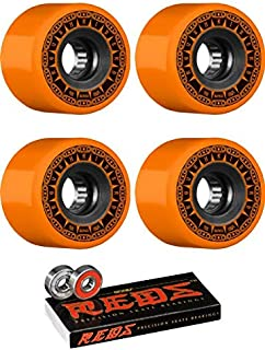 Bones Wheels 59mm ATF Rough Rider Tank Orange Skateboard Wheels - 80a with Bones Bearings - 8mm Bones Reds Precision Skate Rated Skateboard Bearings (8) Pack - Bundle of 2 Items