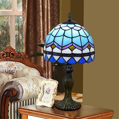 GUSICA Lampe de Table Tiffany 8 Pouces, Rétro Vitrail Abat-jour, Art Deco Lampes à Poser E27 Vintage Lampe de Chevet pour Salon Chambre