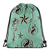 Rockabilly Guitars_294 Drawstring Backpack Rucksack Shoulder Bags Lightweight Gym Bag for...