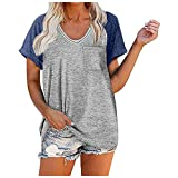Womens Casual V Neck Striped Sleeve Button Down Collar Blouses Shirts Gaming S Cami Tops for Womens Swimsuit Tops for Womens Large Bust One Sleeve Tops for Womens(5-Blue,S)