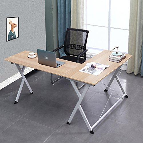 SogesHome L-förmiger Computertisch Großer Eckschreibtisch Tisch Schreibtisch Computertischstation für Heim und Büro, WK-ZJ1-MO-SH