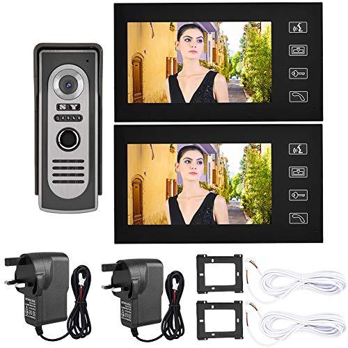 7 pulgadas video puerta teléfono Timbres intercomunicador sistema LCD con cable intercomunicador visual campana visión nocturna puerta entrada sistema hogar inteligente