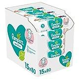 Pampers Lingettes Sensitive, Aident à Protéger la Peau des irritations et Sans Parfum ni Alcool, Lot de 15x80 Lingettes (Total 1200 Lingettes) l'emballage peut varier