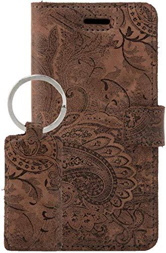 SURAZO Handy Hülle Für Samsung Galaxy A51 RFID Premium Ornament Braun - Glattleder Premium - Vintage Wallet Hülle