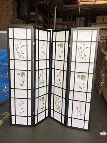 4 Panel Room Divider Coaster Oriental Floral - Black/Cherry/Natural by SQUARE FURNITURE