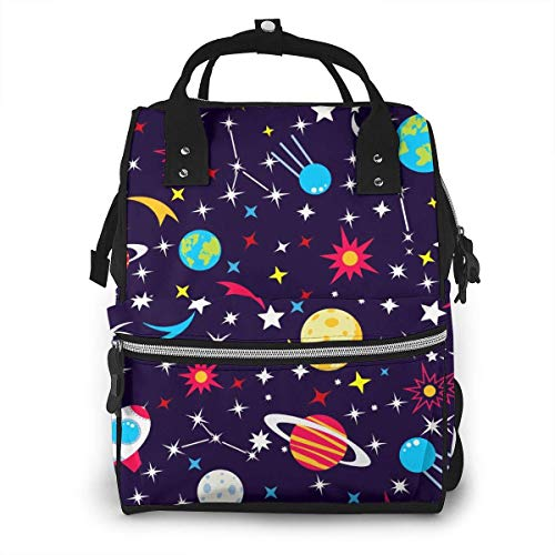 UUwant Mama Windel Rucksack Seamless Pattern Space with Planets and Stars Illustration Diaper Bags Large Capacity Diaper Backpack Travel Nappy Bags Mummy Backpackling