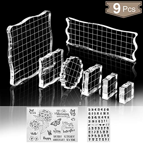 7 Pieces Stamp Blocks with Grid and Grip, Clear Acrylic Stamping Blocks Tools Set Including 2 Silicone Stamps, Decorative Stamp Blocks for DIY Scrapbooking Crafts Making