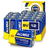 ALLMAX All-Powerful Alkaline Batteries - 9V (12 Pack) - Premium Grade, Ultra Long-Lasting and Leak Proof – Perfect for Smoke Detector Alarm (9 Volt)