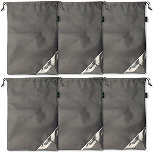 CampTeck U6705 Borse Scarpe Non Tessuto Organizzatori Sacchetti Scarpe Antipolvere con Cordone da Viaggio - Grigio - 6 Pezzi