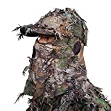QuikCamo Realtree Xtra Green Camo Hat with Built-in 3D Leafy Face Mask, Turkey Hunting Gear for Ghillie Suits and Bowhunting (Adjustable, One Size Fits Most)
