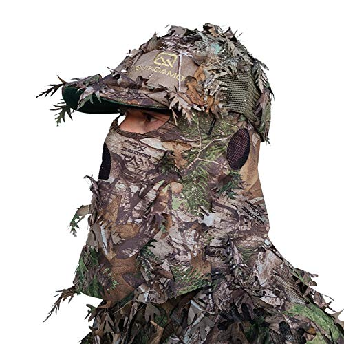 QuikCamo Realtree Xtra Green Camo Hat with Built-in 3D Leafy...