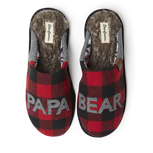 Dearfoams Men's Papa Bear Slipper, faux faux fur Plaid, Large