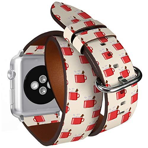 Compatibile con Big Apple Watch 42 mm e 44 mm Double Tour, cinturino in pelle con adattatori in acciaio (tazza di cacao rosso).