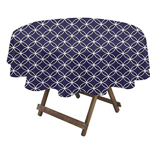 prunushome Indigo Fitted Table Cover Trellis Inspired Pattern Quatrefoil Circles Moroccan Style Tile Theme Image Water Resistant Spill Proof Indigo and White | 36' Round