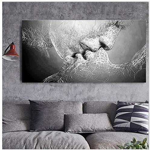 JinYiGlobal Cuadro en Lienzo Impresión Abstracta Blanco y Negro Beso de Amor Póster Imágenes Inicio Dormitorio Sala de Estar Decoración de Arte de Pared 70x140cm (27.6