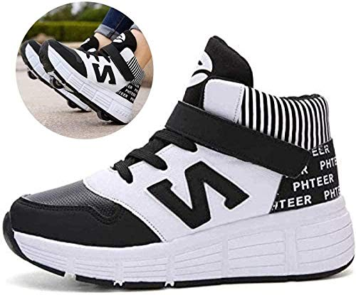 Rollschuhe Schuhe Mit Rollen 2-in-1 Kinder Skateschuhe Turnschuhe,Black-35