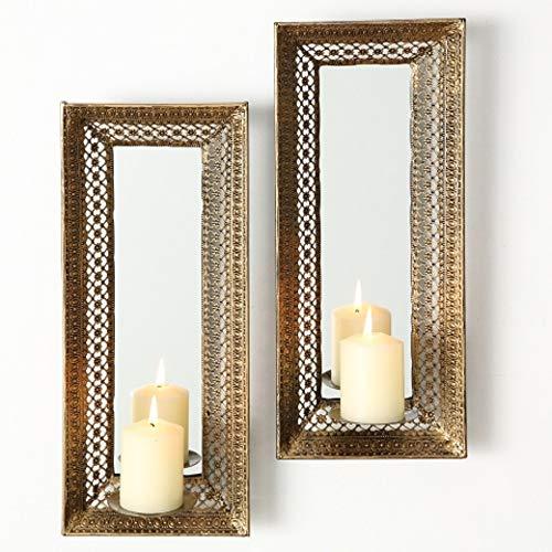 Home Collection Candelabro de pared (metal, con espejo, 2 unidades, 42 cm), color dorado envejecido