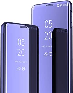 JZ [Design espelhado][Suporte] Capa compatível com LG K52/K42 Smart Mirror Wallet Flip Cover - Roxo