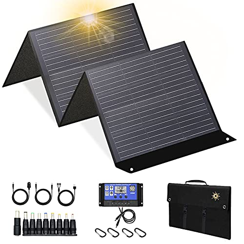 100w 18V Solar Panel for Explorer 160/240/500 as Portable Solar Generator, Portable Foldable Solar Charger for Summer Camping Van RV ,with Kickstand Connector Foldable and Solar Controller (black)