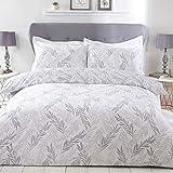 Sleepdown Juego edredón y Fundas de Almohada (230 x 220 cm), diseño Floral, Color Gris y Blanco, Polialgodón, Matrimonio