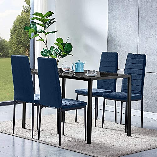Huisenuk Modern Black Glass Dining Table and Velvet Chairs Set of 4, 5 Pieces Small Kitchen Table Rectangular with 4 Chairs Blue Velvet for Restaurant Small Apartment Dinette Set