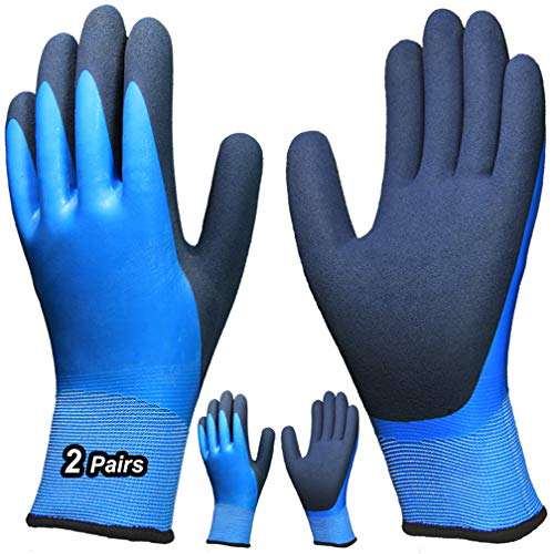 Hanhelp safety 2 Pairs Superior Grip Waterproof Work Gloves, Double Coating Nylon Liner Comfortable for Garden Auto Multi-Purpose