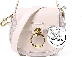 Onzama Damen Designer Schulter Sattel Geldbörsen Armband Crossbody Taschen Kuh Leder Ring Satchel (Sahne)