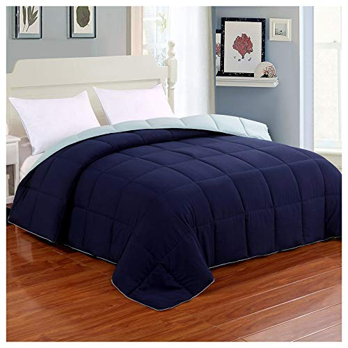 Homelike Moment Reversible Lightweight Comforter Queen Blue All Season Down Alternative Bed Comforter Summer Duvet Insert Quilted Comforters Full / Queen Size Navy / Light Blue