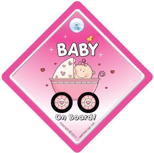 Baby On Board, petit-enfant à bord, panneau pour voiture, poussette Rose 2, Baby on Board, panneau bébéà bord, bébé, en Sticker, pare-chocs, matenrnity, Paternité, Baby on Board