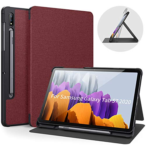 Bokeer Designed for Samsung Galaxy Tab S7 11 Inch Case 2020 with S Pen Holder SM-T870/875/878, Shockproof Protective Smart Folio Case, PC Hard Back Cover, Supprot Auto Wake/Sleep (Wine Red)