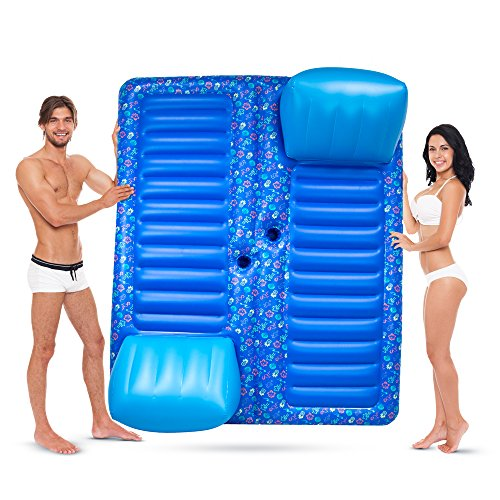 Face to Face 2-Person Pool Lounge Float with Cup Holders by Sol Coastal by Sol Coastal