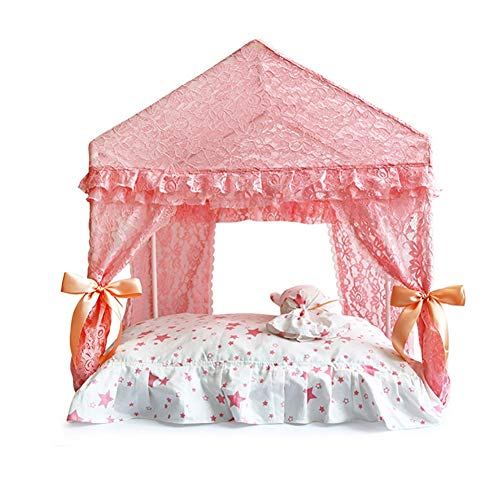 Zjyfywpj Die Hundehütte-Schlafmatte Mit Vorhanghundewohnungsmatte ist Leicht Zu Zerlegen und Kann Überall Im Haus Aufgestellt Werden (Farbe : Rosa, Größe : L)