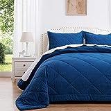SunStyle Home Quilt Set Queen Navy Blue (90x90 inches) Lightweight Comforter Set Diamond Pattern Bedspreads All Season 3 Pieces (1 Quilt, 2 Pillow Shams)