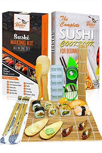 Kit Sushi - Set Sushi Maker Completo in Bambù - 2 Tappetini, 3 Paia di Bacchette con Borsa, Paletta, Spatola, Muffa di Sushi, Affettatrice per Avocado, 2 Porta Salse con eBook