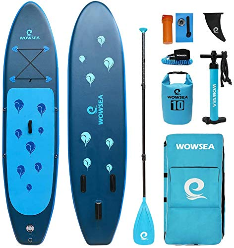WOWSEA Waterdrop Tabla De Stand Up Paddle Hinchable | 305cm L x 80cm W x 15cm H | Duraderas y Estables Ocio SUP Paddle Hinchable | Excursiones & Yoga iSUP | Azul