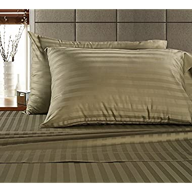 CHATEAU HOME COLLECTION Chateau Home Hotel Collection - Luxury 500 Thread Count 100% Egyptian Cotton Damask Stripe Deep Pocket Super Soft Sateen Weave Sheet Set, Mega Sale Lowest Prices, King-Wheat