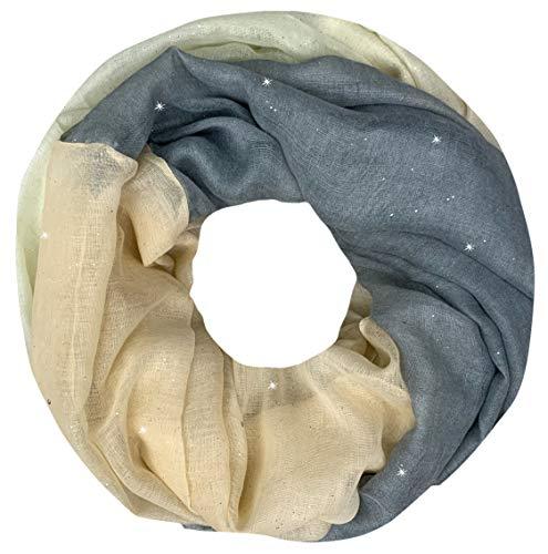 PiriModa Scaldacollo leggero da donna - colore sfumato e glitter - grigio/bianco naturale/salmone - 180 x 90 cm