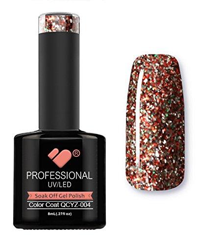 Vernis à ongles gel QCYZ-004 VB Line Diamond Red Silver Glitter