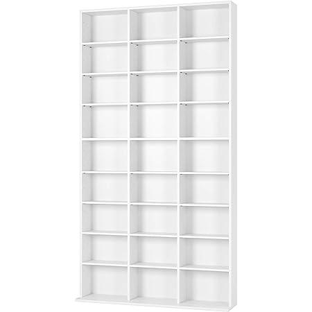 Homfa Estantería para CDs y DVDs Librería de Pared Estantería Ajustable para Libros Blanco con 27 Cubos 102.5x16x190cm