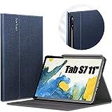 INFILAND Funda Case para Samsung Galaxy Tab S7 11(SM-T870/T875) 2020, Estuche Carcasa Ligera para S Pen,Smart Book Cover con Auto Reposo/Activación para Samsung Tab S7 11 2020,Azul Oscuro
