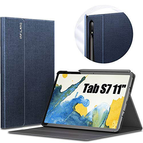 INFILAND Galaxy Tab S7 Case, Multiple Angle Stand Cover Compatible with Samsung Galaxy Tab S7 11-inch SM-T870/T875/T876 2020 Release Tablet [Auto Wake/Sleep], Navy