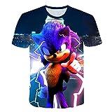 hengGuKeJiYo Sonic Summer T Shirt pour Enfants Garçons Filles, Dessin Animé 3D Imprimé T-Shirt Court T-Shirt Vêtements 4-14T