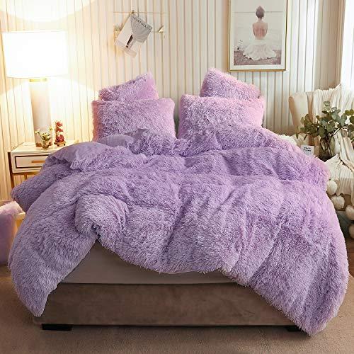 XeGe Plush Shaggy Duvet Cover Set Luxury Ultra Soft Crystal Velvet Bedding Sets 3 Pieces(1 Faux Fur Duvet Cover + 2 Faux Fur Pillow Cases),Zipper Closur (Queen, Orchid Tint)