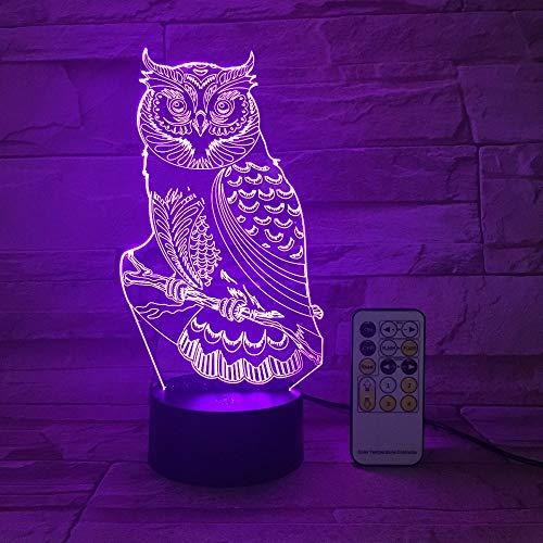 Control remoto OWL 3D Lámpara de mesa Juguete para niños Regalo Night Light capaz Estado de ánimo Luz LED DC USB decoración Obtenga un control remoto gratis