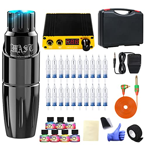 Dragonhawk Complete Rotary Tattoo Pen Machine Kit, Mast Tour Tattoo Permanent Makeup Pen Machine 20Pcs Cartridges Needles Power Supply Color Inks with Carry Case 366H