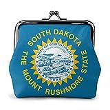 Porte-Monnaie South Dakota Flag SD Buckle Coin Purses Pouch Mini Wallet Zipper Storage Bag Kiss-Lock Change Women's Wallets Clasp