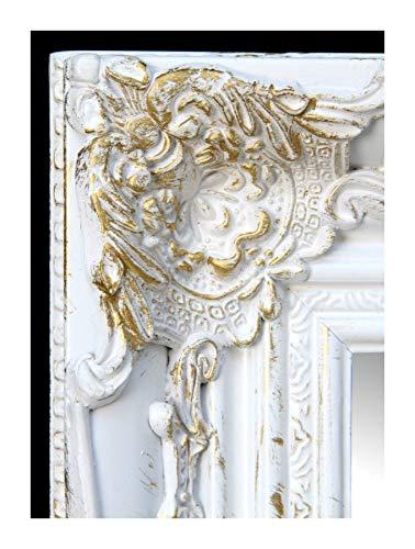 Lnxp Wandspiegel Barockspiegel 55x45 cm Rechteckig Weiß/Gold Flurspiegel BAROCK Antik Repro Shabby...